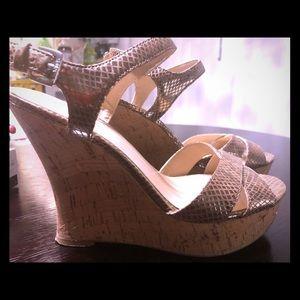Guess platform cork heels